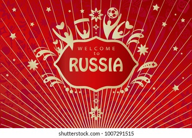 Welcome to Russia inscription text gold logo, invitation, world cup ticket astract dynamic background. Russian folk art tradition elements ornament, sports award symbols soccer ball red pattern vector