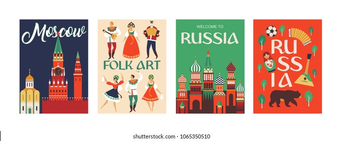 Welcome to Russia. Russian traditional folk art. Poster. Flat design Vector illustration.