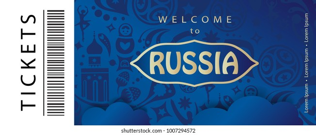 Welcome to Russia inscription, text gold color logo, invitation, ticket astract festival background with Russian folk art tradition elements ornament, sport award, travel blue pattern, vector template