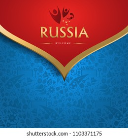 Welcome to Russia traditional background template for special soccer event. Gold color russian decoration. EPS10 vector.