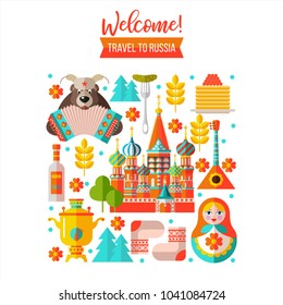 Welcome to Russia. Travel to Russia. Set of clipart Russian traditional items. Russian souvenir. Vector illustration.
