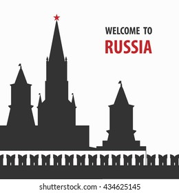 Welcome to Russia vector illustration. Kremlin silhouette, Moscow.