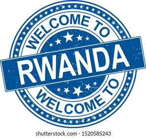 Welcome to Rwanda grungy rubber stamp on a white background