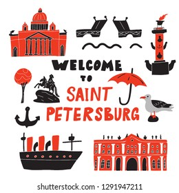 Welcome to Saint-Petersburg. Funny hand drawn illustration of different landmarks and symbols . Sketch. Vector.