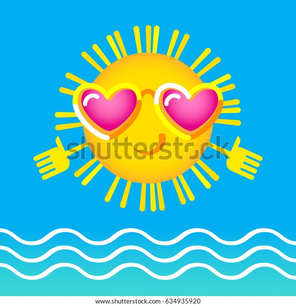Welcome to the sea. The sun offers a swim. Vector illustration.
