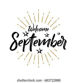 Welcome September - Firework - Vector for greeting, new month