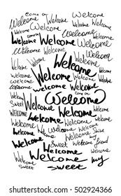 Welcome set calligraphic lettering with outline hand drawn, Illustration EPS10 great for any use