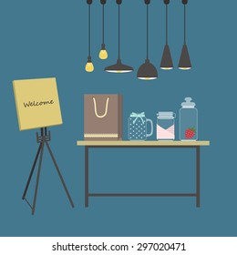 Welcome to shopping. Living room. Vector illustration
