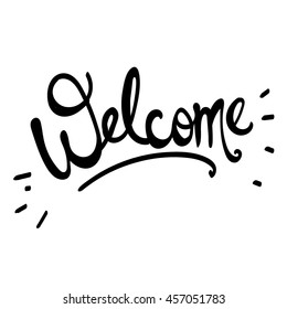 Welcome sign hand drawn vector lettering