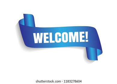 Welcome sign. Vector illustration. White inscription welcome blue transporant. Text with Banner ribbon business on a white background isolated.