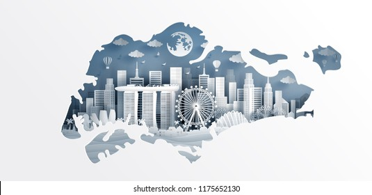 Welcome to Singapor with map concept and Singapore famous landmarks in paper cut style vector illustration. Travel poster, postcard and advertising design.