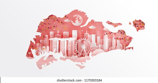 Welcome to Singapore with map concept in autumn season with falling leaves and Singapore famous landmarks in paper cut style vector illustration. Travel poster, postcard and advertising design.