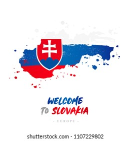 Welcome to Slovakia. Europe. Flag and map of the country of Slovakia from brush strokes. Lettering. Vector illustration on white background.