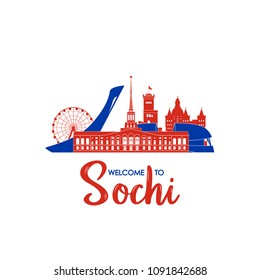 Welcome to Sochi. Concept Russian landmarks. Vector illustration.