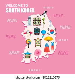 Welcome to South Korea concept. South Korean map, isolated, with different attractions and culture symbols. Vector illustration