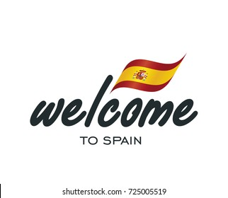 Welcome to Spain flag sign logo icon