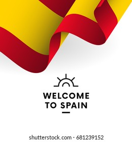 Welcome to Spain. Spain flag. Vector