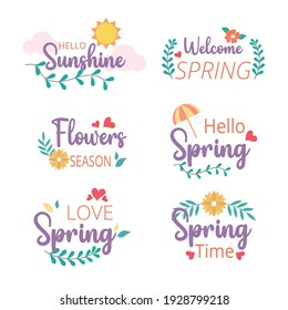 Welcome spring badge and label collection. Hello spring. Hand drawn. Vector illustration. Flat design.