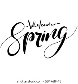 Welcome spring handwriting lettering design. Vector illustration isolated on white background.