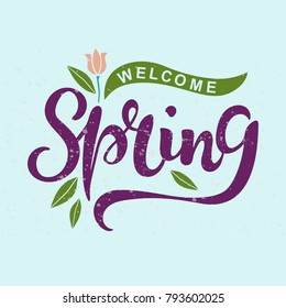 Welcome banner images stock photos vectors shutterstock welcome spring text as logotype badge and icon hand drawn spring lettering for warm maxwellsz
