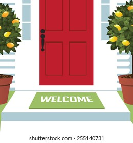 Welcome spring wreath mat at front door with lemon trees EPS 10 vector royalty free stock illustration for greeting card, ad, promotion, poster, flier, blog, article, open house, party, new neighbors