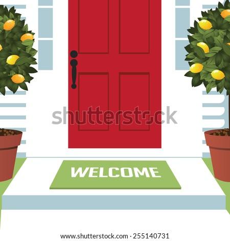 Welcome Spring Wreath Mat Front Door Stock Vector Royalty Free