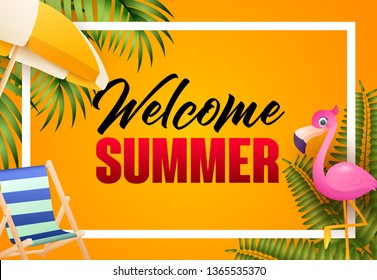 Welcome summer bright poster design. Pink flamingo, beach chair, umbrella, palm leaves and text in frame on orange background. Vector illustration can be used for banners, flyers, greeting cards