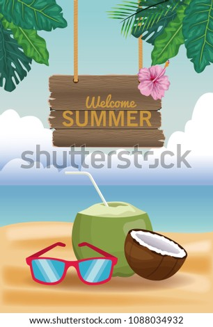 76bdc7bf47c Welcome Summer Card Stock Vector (Royalty Free) 1088034932 ...