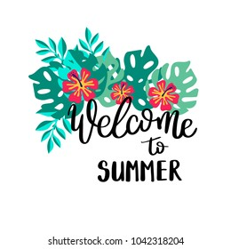 Welcome to summer. Summer quote. Handwritten for holiday greeting cards. Hand drawn illustration. Handwritten lettering. Hand Drawn lettering. Summer card design elements. Vector 10 eps