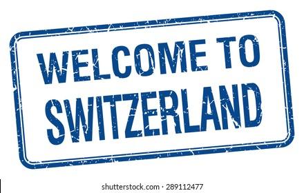 welcome to Switzerland blue grunge square stamp