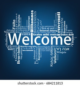 Welcome Tag Cloud in different languages, vector