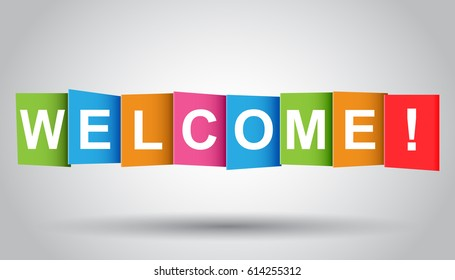 Welcome tag. Market message. Flat vector illustration on grey background