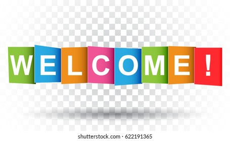 Welcome tag. Market message. Flat vector illustration on isolated background