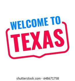 Welcome to Texas. Badge icon. Flat vector illustration on white background.