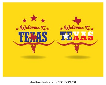 Welcome to Texas  typography design, vector eps 10.