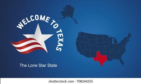 Welcome to Texas USA map banner logo icon