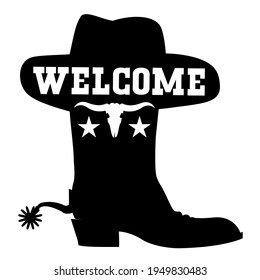 Welcome to Texas vector black graphic sign illustration with cowboy boot sihouette and western hat isolated on white with welcome text