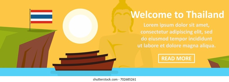 Welcome to thailand banner horizontal concept. Flat illustration of welcome to thailand banner horizontal vector concept for web