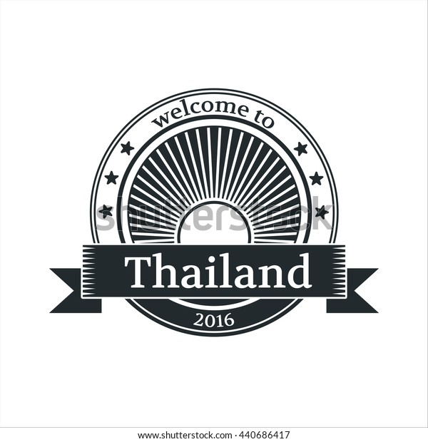 Welcome to Thailand emblem. Rising sun logo