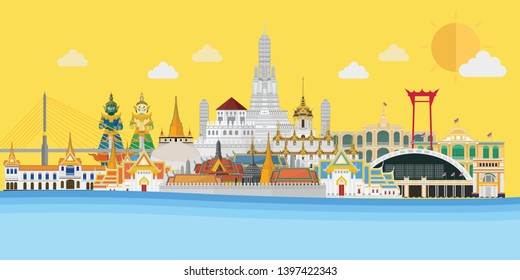 Welcome to Thailand and Grand Palace, Guardian Giant, Temple, Hualamphong station, Rama VIII Bridge, Wat Arun in Bangkok. Vector illustration