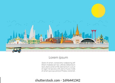 Welcome to Thailand. land fo smile with attractions, landmarks. vector illustration