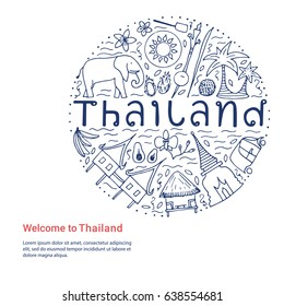 Welcome to Thailand template. Hand drawn design concept with the main attractions of Thailand. Vector illustration.
