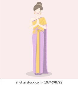 Thai lady thai traditional costume greetings stock vector 1007880832 welcome to thailand with thai women wearing traditional thai dress and greetings in thai style m4hsunfo