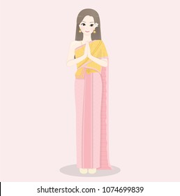 Thai lady greeting stock vectors images vector art shutterstock welcome to thailand with thai women wearing traditional thai dress and greetings in thai style m4hsunfo