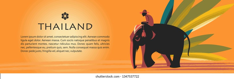 Welcome to Thailand. Travel Agency advertising flyer template. Elephant with rider on the background of exotic palm leaves.