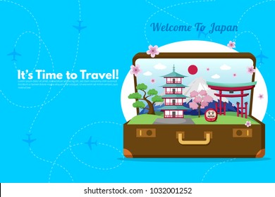 Welcome To Japan.It's Time to Travel.Trip to Japan. Travel to Japan. Vacation. Road trip. Tourism. Travel banner.Open suitcase with landmarks. Journey. Travelling illustration. Modern flat design.