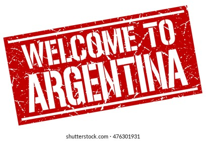 welcome to. Argentina. stamp