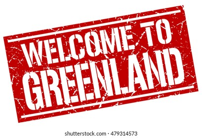 welcome to. Greenland. stamp