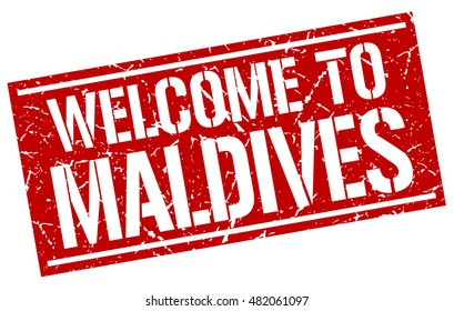 welcome to. Maldives. stamp