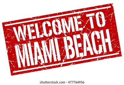welcome to. Miami Beach. stamp